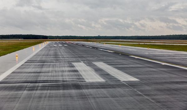 Empty Wet Airport Runway